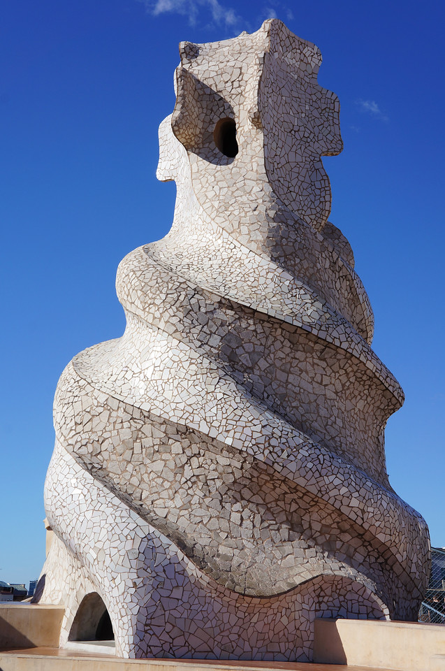 A chimney covering on the roof of Casa Mila (aka La Pedrera). The architect, Gaudi, was known for his elaborate designs.