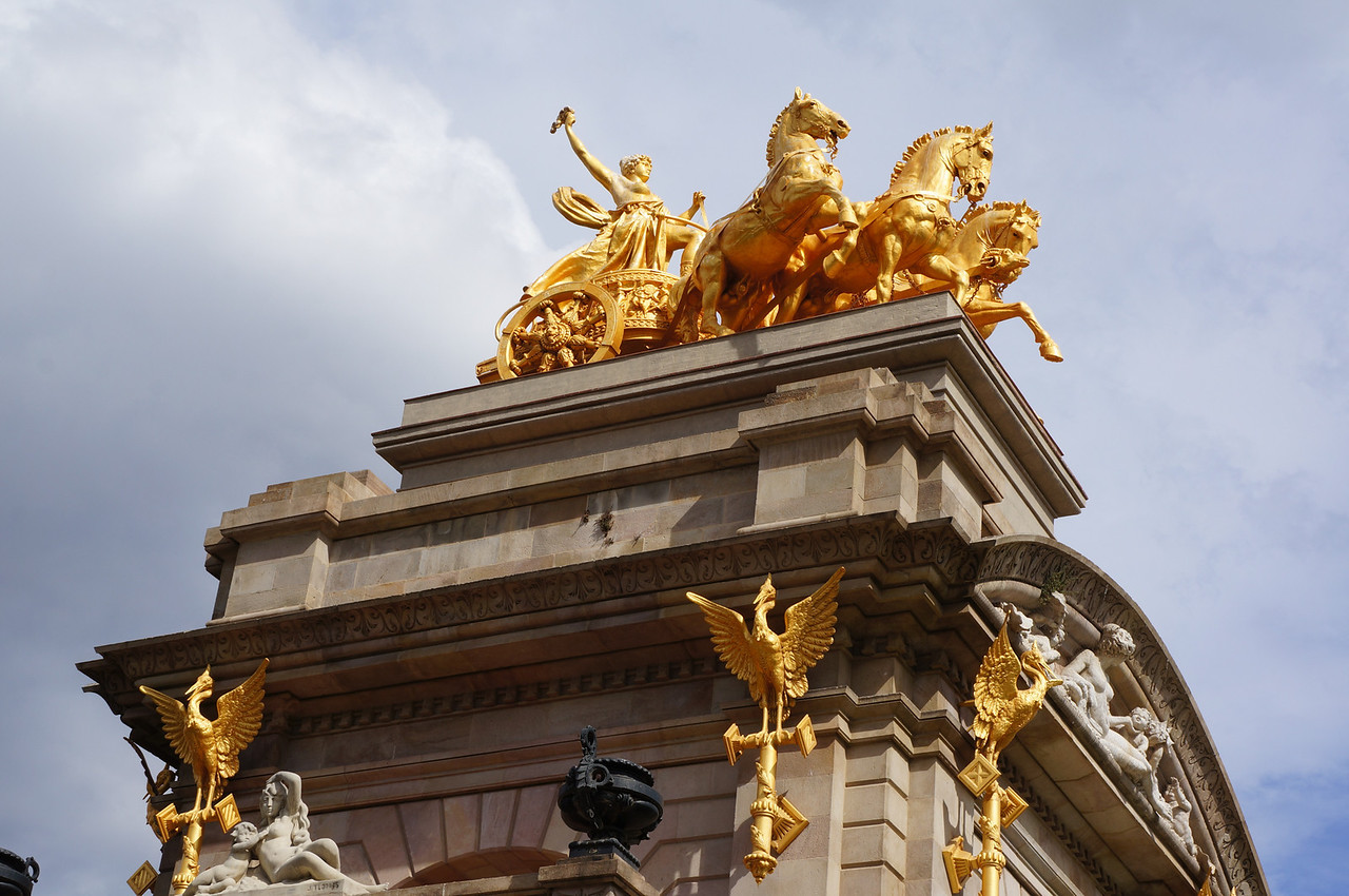 A view of the horses and chariot sculpture at the top of the fountains at Parc de la Ciutadella.