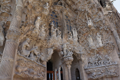 The Nativity entrance of La Sagrada Familia. The opposite side of the cathedral had a dozen or so scenes from Christ's life, but this side was crammed with so much intricacy that it was hard to take it all in.