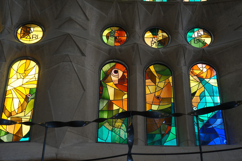 Stained glass window inside the incredible La Sagrada Família cathedral designed by Gaudi.