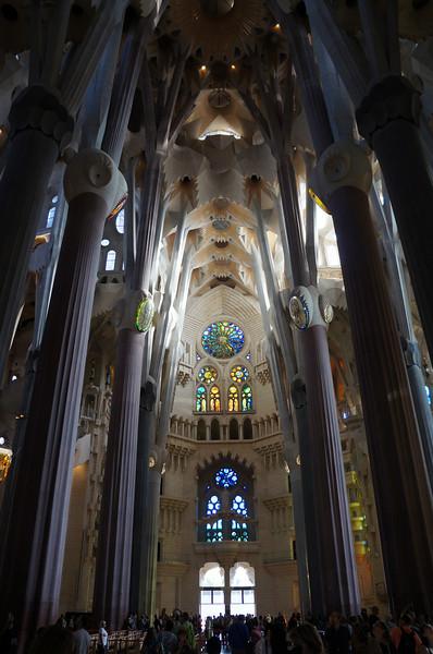 An interior view of La Sagrada Família.