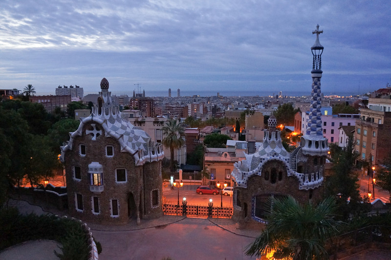 The entrance to Parc Guell. It is thought that Antonio Gaudi designed these buildings after seeing an opera about Hansel and Gretel.