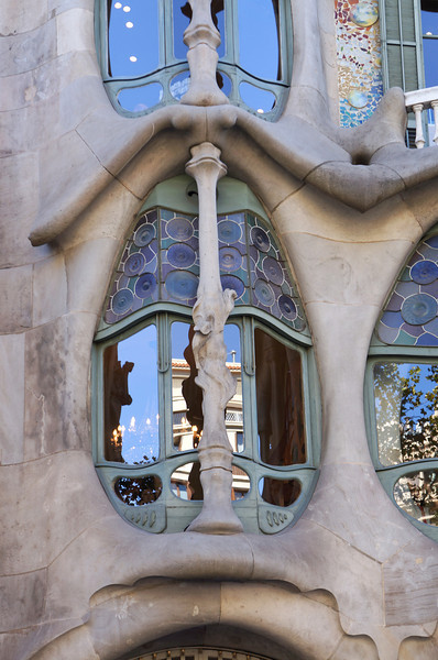 The exterior of Casa Batllo, one of the buildings in the Mansana de la Discordia that was designed by Gaudi.