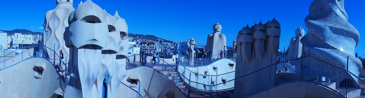 On the roof of Casa Mila (aka La Pedrera), one of Gaudi's most famous architectural achievements and Karen's personal favorite.