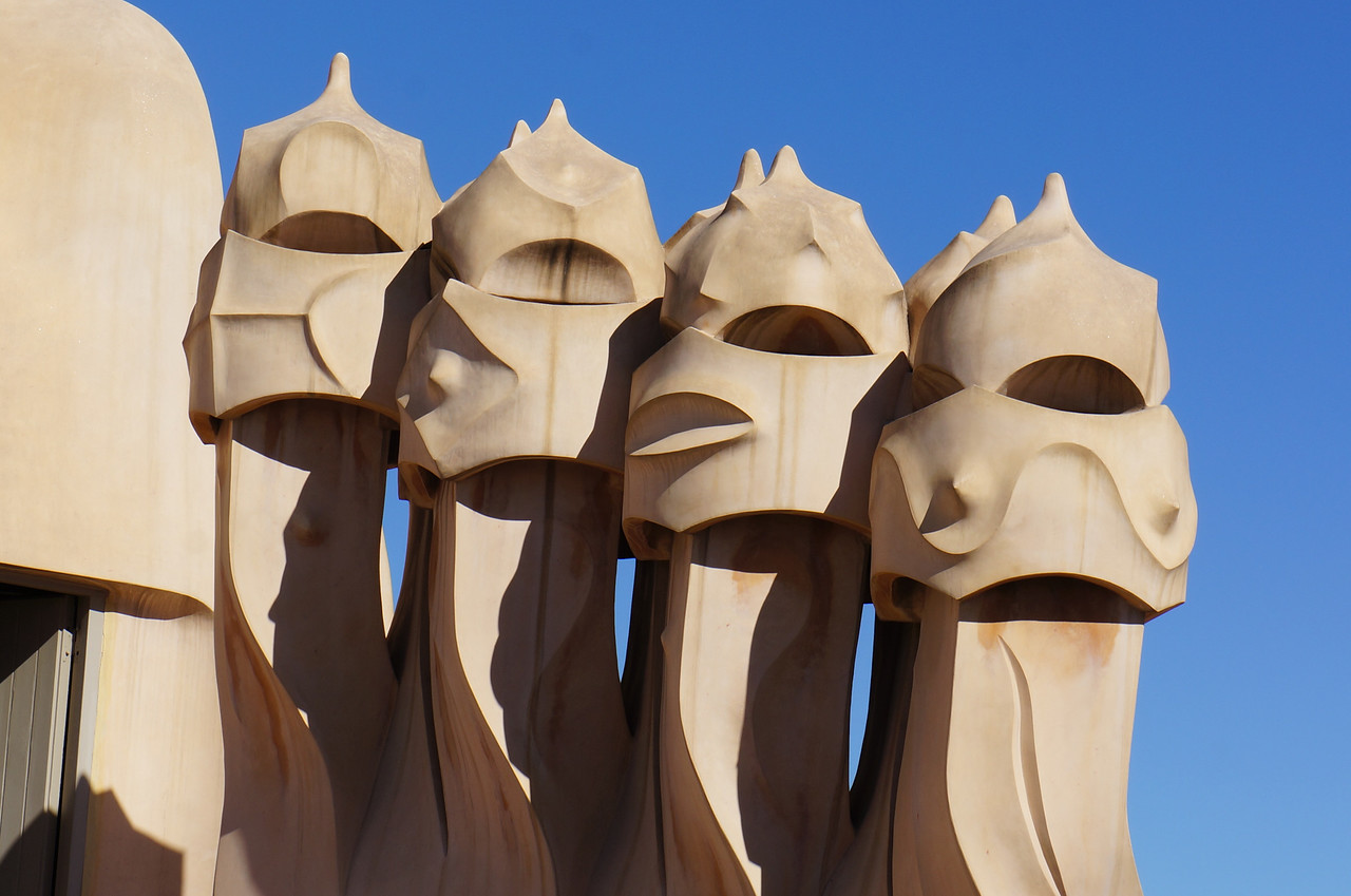 Additional chimneys on the roof of Casa Mila (aka La Pedrera), one of Gaudi's finest architectural achievements.