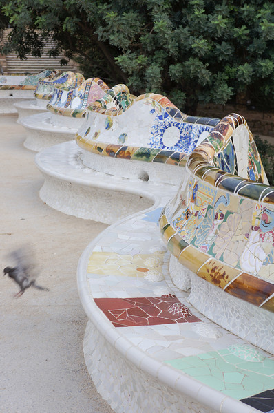 This railing and benches were designed by Gaudi to look like a sea serpent. They surround the large terraced area of Parc Guell that is a main vantage point for viewing the city.