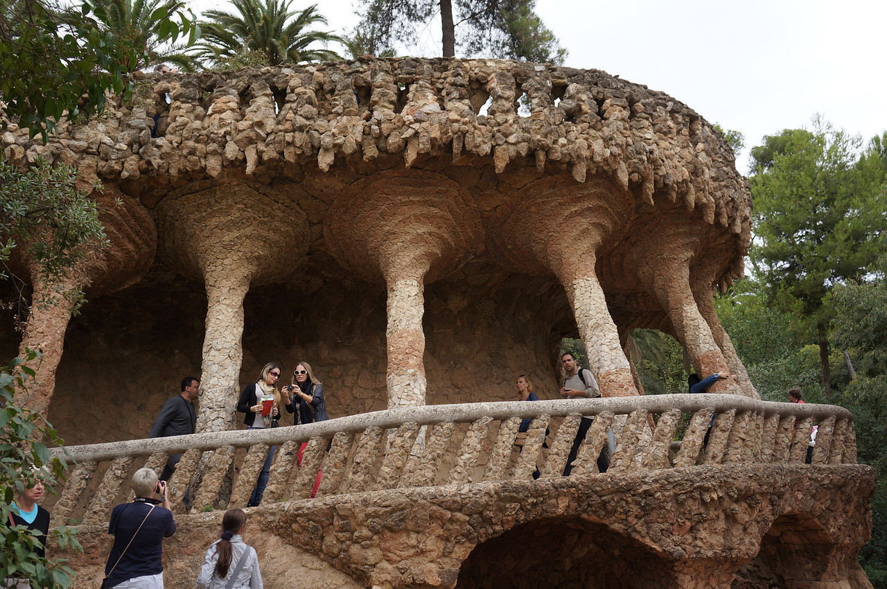 Paths wind and intersect throughout Parc Guell, with many of the trails held up by fantastical columns.