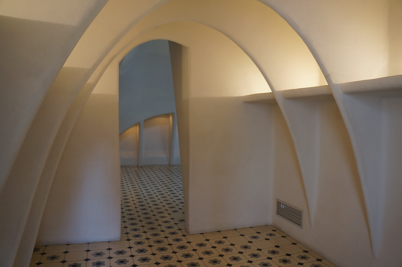 Top floor of the Casa Batllo. A mesmerizing collection of arched rooms and doorways.