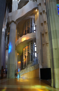 A large stairwell inside the La Sagrada Família cathedral offering visitors a chance to climb to the rooftop for additional views of the church exterior.