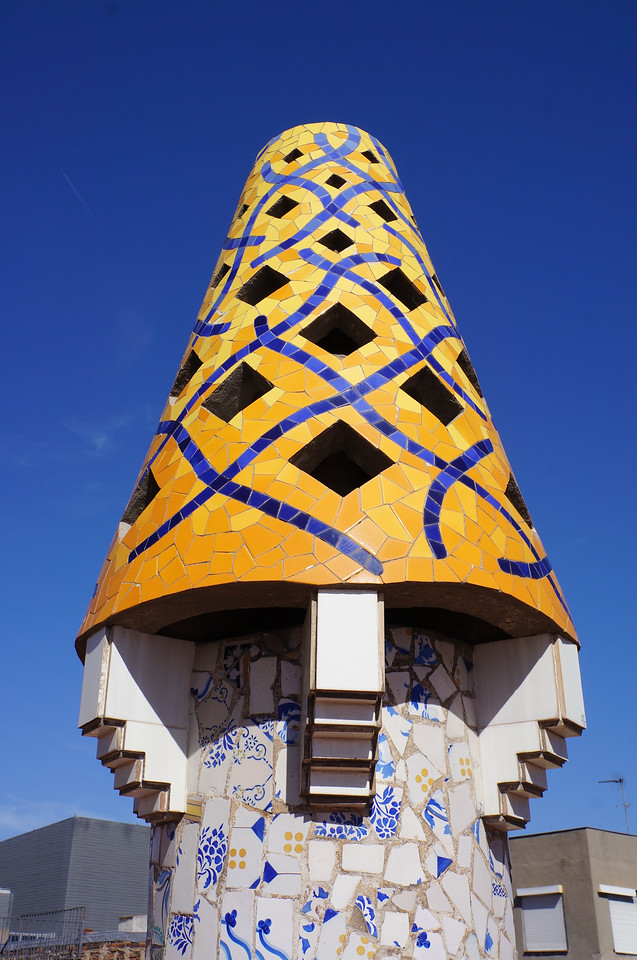 More fantastical sculptures designed around chimneys on the rooftop of the Palau Guell, a home Gaudi designed for his patron.