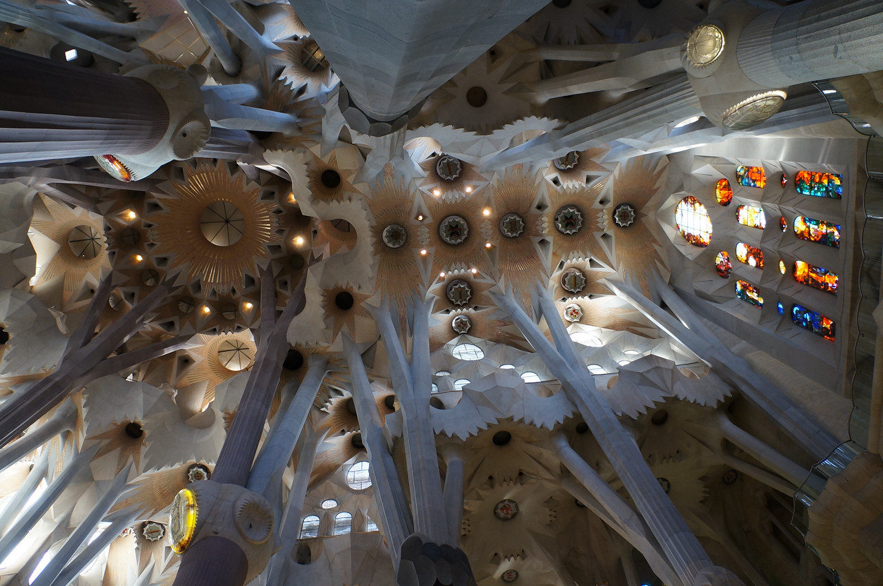 The ceiling of the cathedral, La Sagrada Família. There is not an inch of this immense church that does not have some thought or concept of it's architect, Antonio Gaudi, embedded in it. It is awe-inspiring and somewhat overwhelming.
