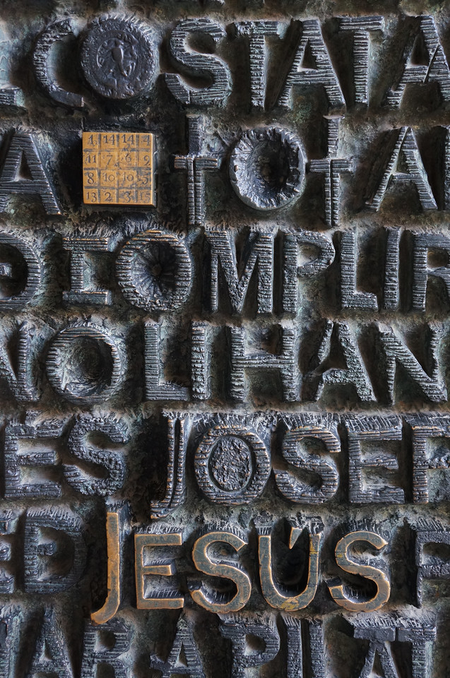 The gospel engraved in the doors to one of the entrances to La Sagrada Família.