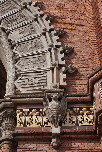 A detail of the Arc de Triomf replica in Barcelona.