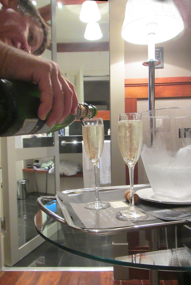 "Cava, Spanish champagne, awaiting us in our hotel in Barcelona. To commemorate our ""honeymoon"" - really our 32nd anniversary, but they made a mistake. Still, the Cava was excellent."