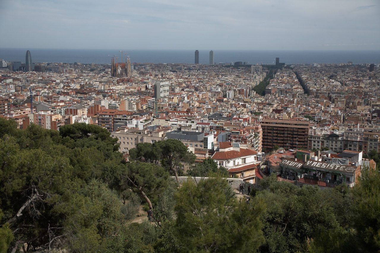 This is the view from the park. La Rambla is the wider strip of green in the top third of the photo.