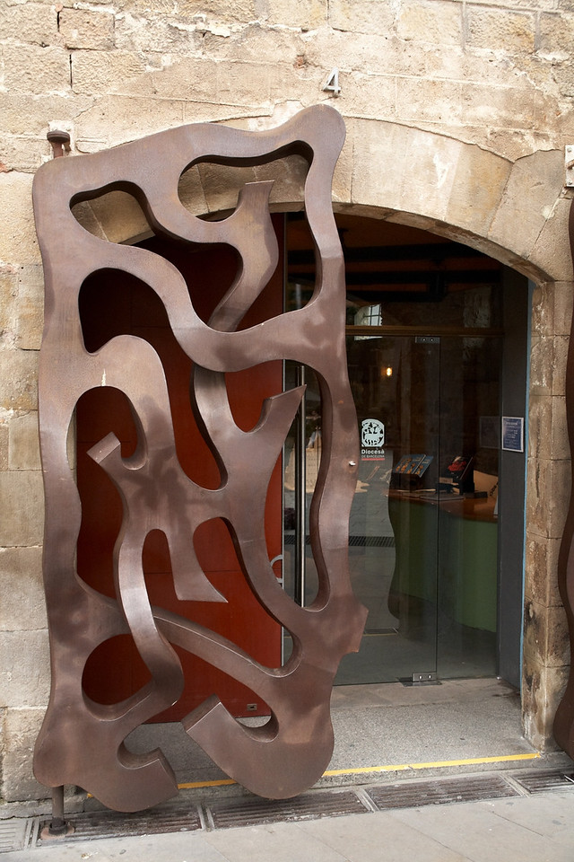 This is a closeup of the gate used to block the doors after the museum closes.