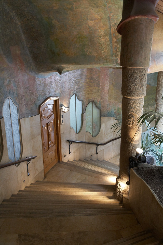This stairwell descends from the museum also located inside Casa Mila.