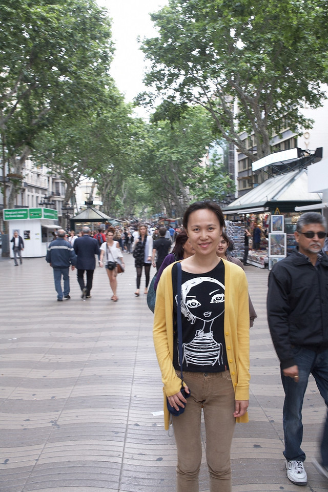 La Rambla. This is probably Barcelona's most famous street. It's filled with shops, restaurants, hotels, and tourists.