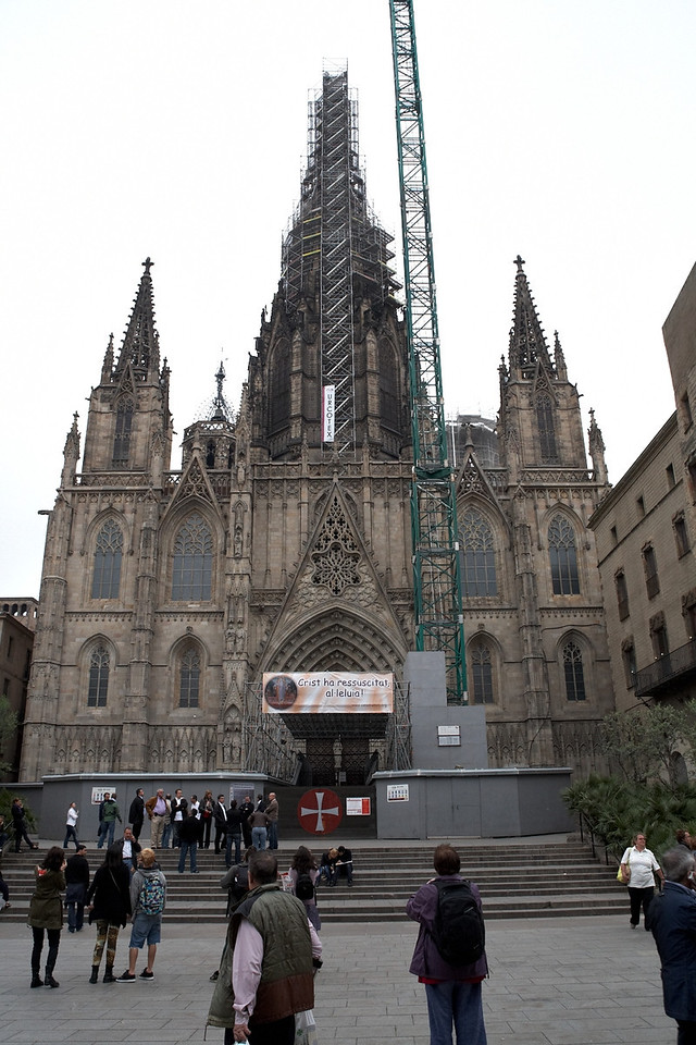 This is the more traditional looking cathedral in Barcelona. Although this one is complete, it's under renovation.