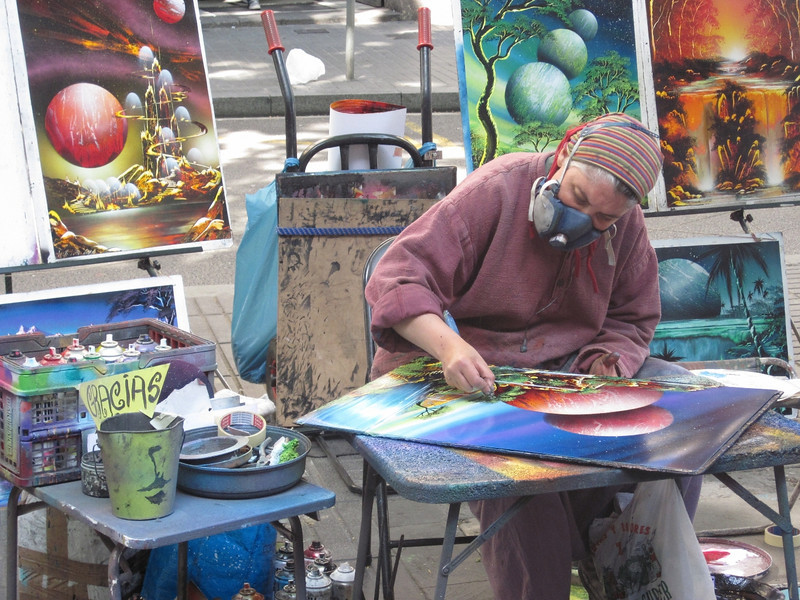 An artist working on La Rambla.