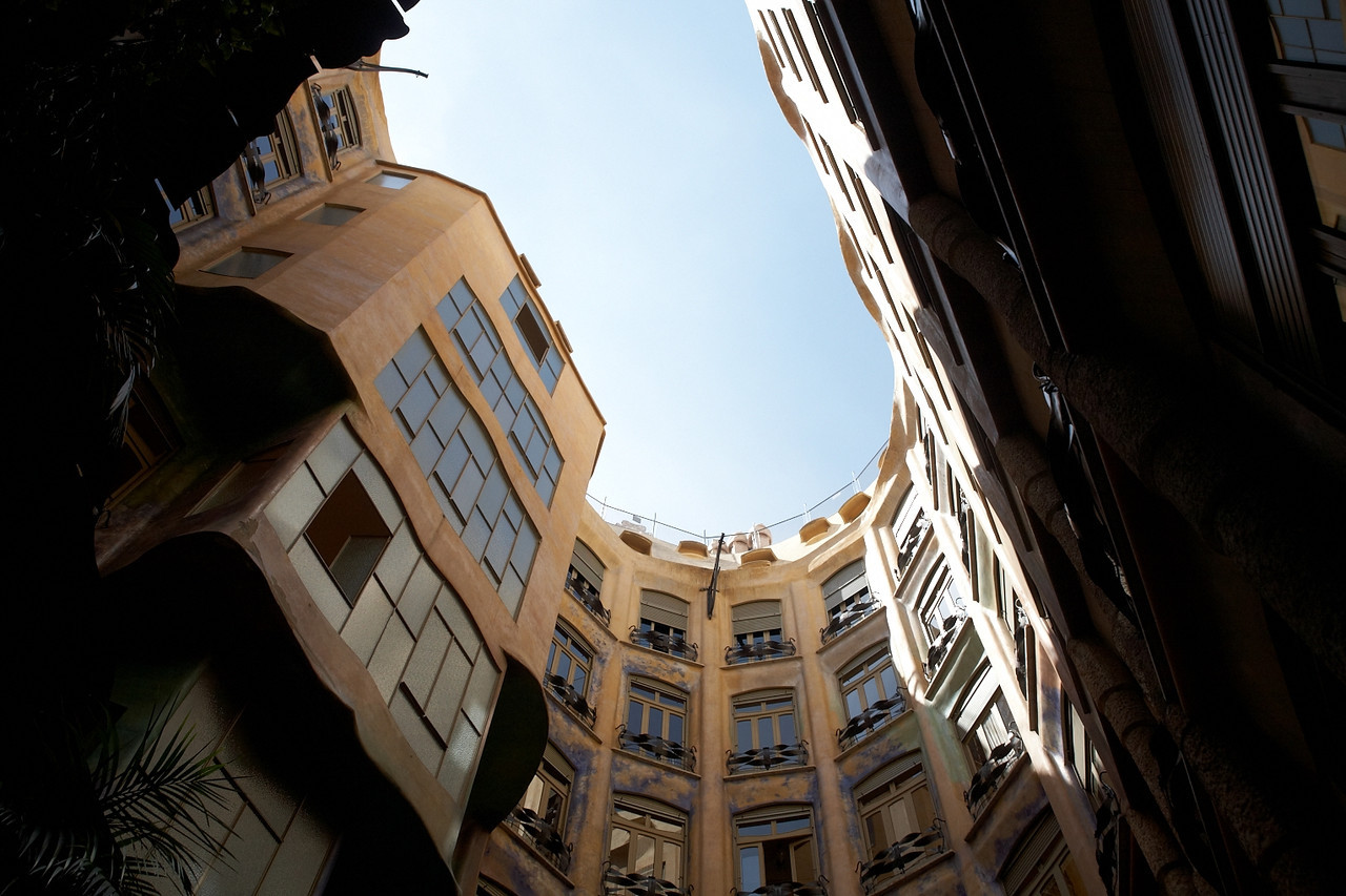 This is the view from one of the courtyards of Casa Mila.