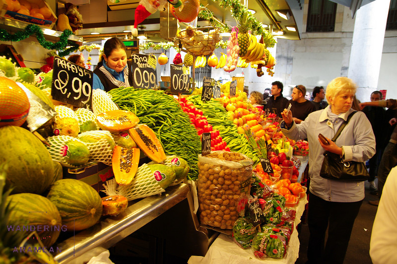 Produce shopping in El Boqueria market