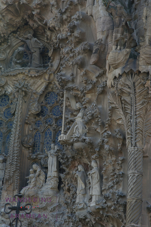 Some of the facade work on the Familia Sagrada, Gaudi's famous cathedral