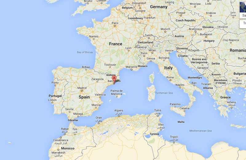 Barcelona is in the southeast corner of Spain, near the French border, in a province called Catalonia.