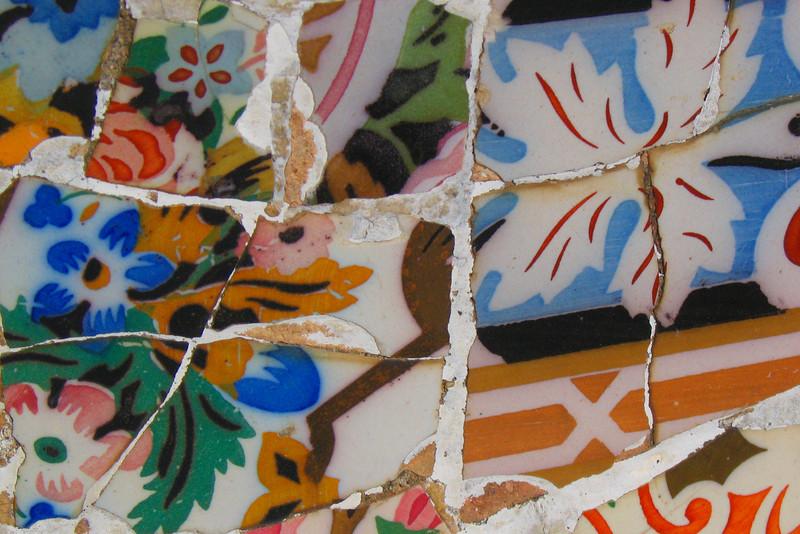 Broken tiles at Gaudí's Park Güell