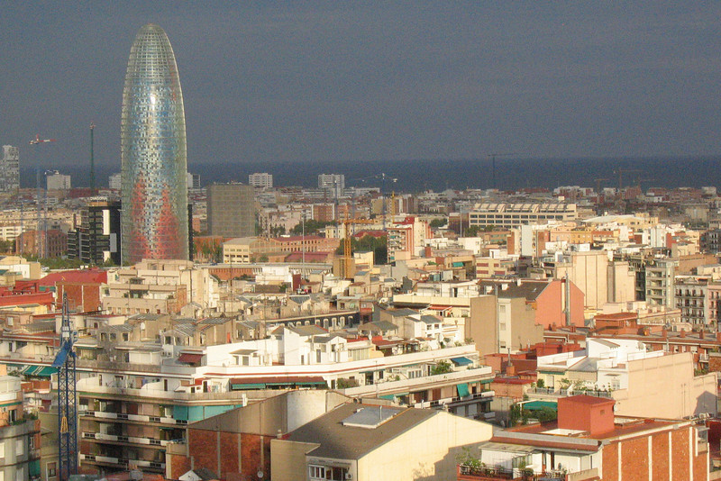 View of Barcelona from the Sagrada Familia, with the space-agey Jean Nouvel-designed Torre Agbar featuring prominently.