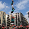 In one formation, the tower's outer layers peel off like an onion, revealing a single pilar, or pillar, of castellers standing on shoulders in one perfect vertical line. Casteller Felix Miret acts as anchor at the bottom; he's been a casteller since the age of three.