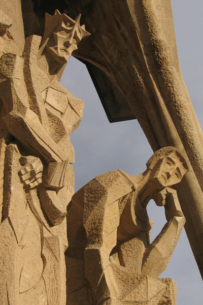 Religious sculptures on the facade of Gaudí's Sagrada Familia