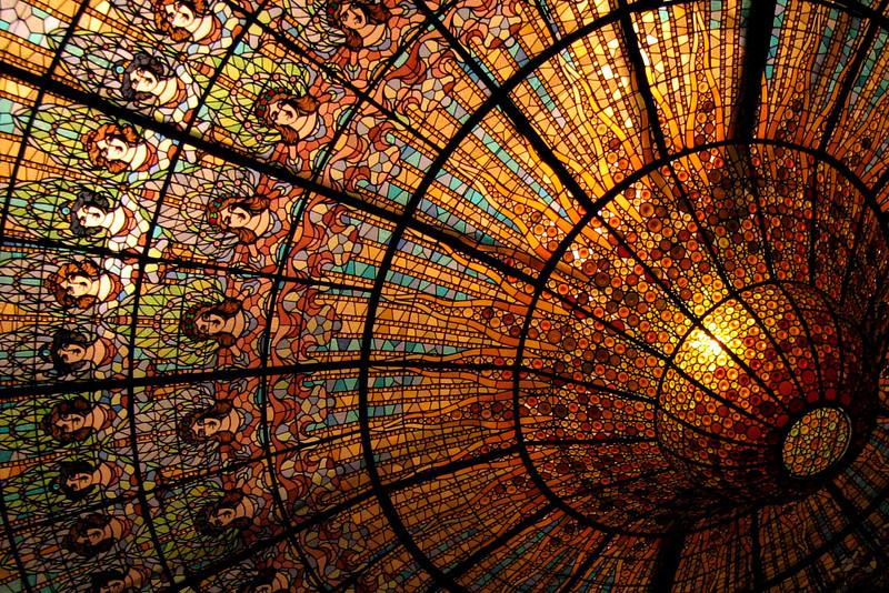 Brilliant ceiling of the Palau de la Música Catalana, by Modernista architect Lluis Domènech i Montaner