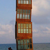 "Rebecca Horn's ""Estel Ferit"" sculpture-tower, on the beach in the Barceloneta neighborhood"
