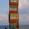 "Rebecca Horn's ""Estel Ferit"" sculpture-tower, on the beach in the Barceloneta neighborhood"
