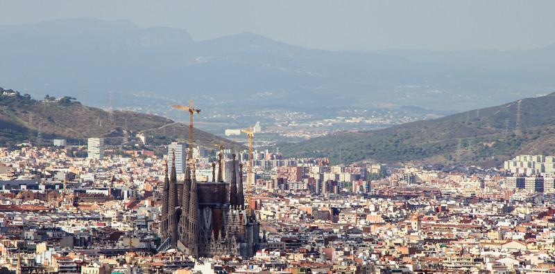 La Sagrada Familia from the top of Mont Juic