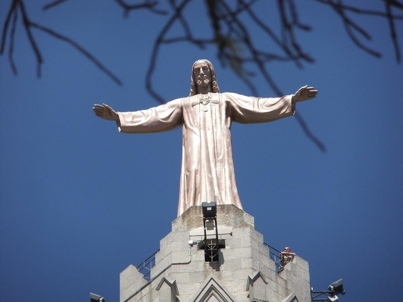 Jesus on top of church on Tibidabo