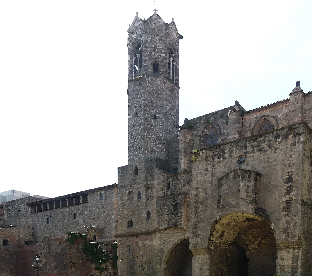 Roman wall and restored tower (watercolor)
