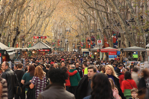 Small crowd on La Rambla
