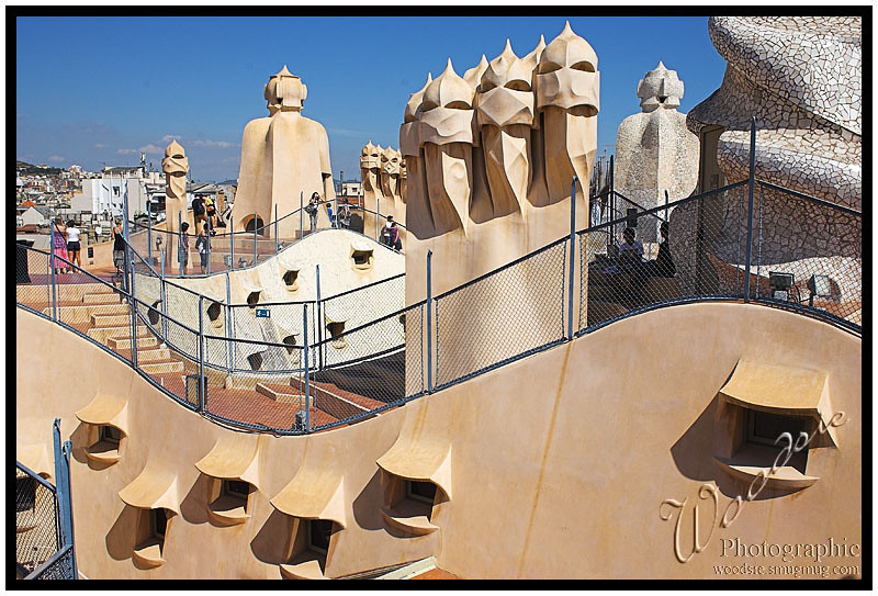 The roof of the Gaudi house showing the unique and distinctive archtectural design.