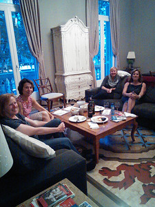 The night we arrived, at the fabulous apartment at 15 Paseig de Gracia. Nancy, Chris, Sandy, and Joyce.