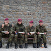 U.S. Army and German Soldiers have lunch together