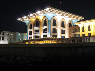 Night view of Sultan Qaboos' palace in Muscat