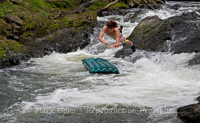 Leaping into the Cobark River, Barrington Tops, NSW