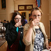 Claire & Lynne taking the waters - supposed to be medicinal !!