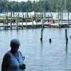 Pam enjoying the waterfront at Adams Landing.