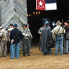 Before the battle, the participants gathered around chatting. There was an ambulance there too, just in case anyone got hurt. I quite liked the chandeliers in the old barn.