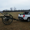 One Confederate soldier towed his 19th century cannon on the back of his 19th century shiny Chevy.  LOL