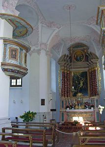 View of St. Bartholomew's pulpit and altar.