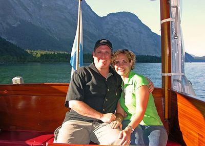 Brett & Jodi on one of the Königsee electric boats.
